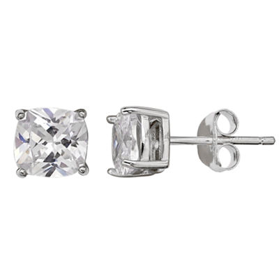 Silver Treasures Clear 6mm Stud Earrings