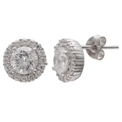 Silver Treasures Round Clear Stud Earrings