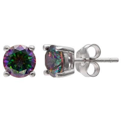 Silver Treasures Clear 7mm Stud Earrings