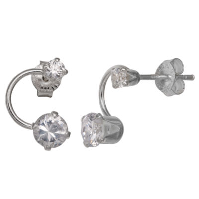 Silver Treasures Round Clear Sterling Silver Stud Earrings