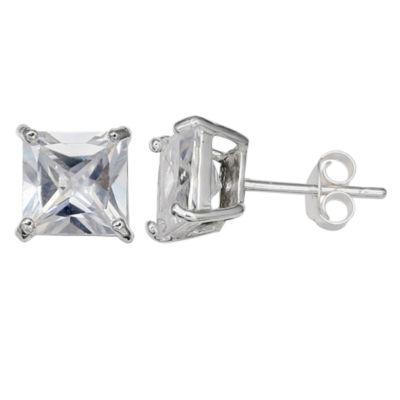 Silver Treasures Clear 4mm Stud Earrings