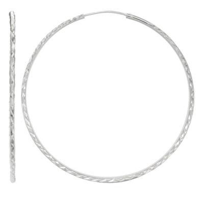 Silver Treasures 50mm Hoop Earrings