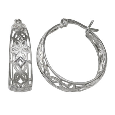 Silver Treasures Sterling Silver Hoop Earrings