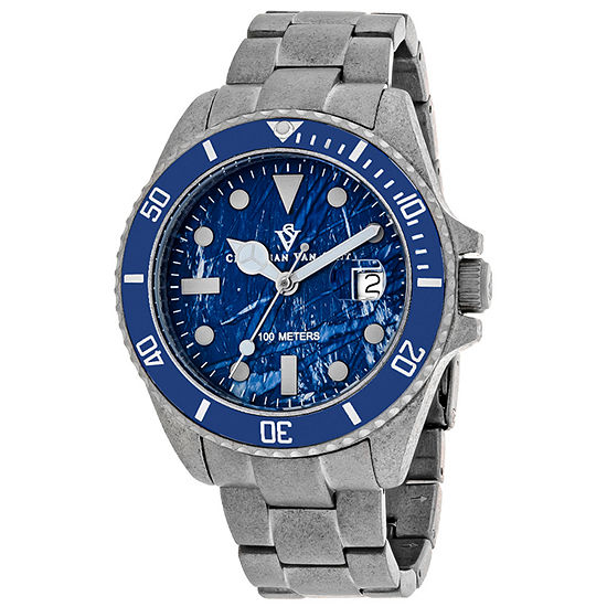 Christian Van Sant Mens Silver Tone Stainless Steel Bracelet Watch-Cv5103b