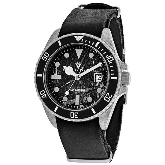 Christian Van Sant Mens Black Leather Strap Watch-Cv5200b