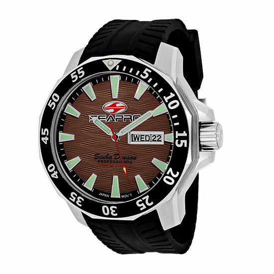 Sea-Pro Scuba Diver Limited Edition Mens Black Leather Strap Watch-Sp8315