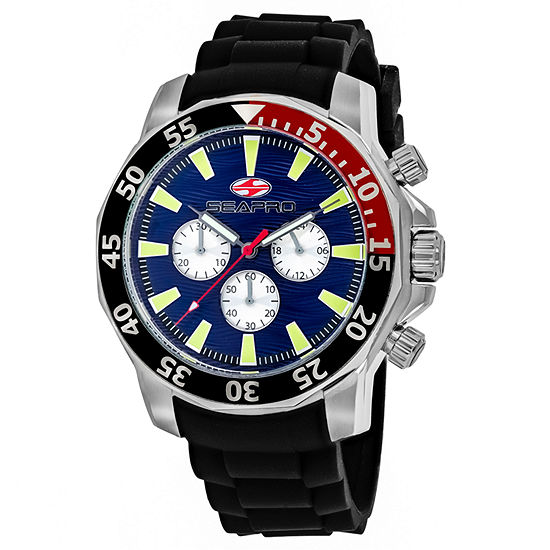 Sea-Pro Scuba Explorer Mens Black Leather Strap Watch-Sp8331
