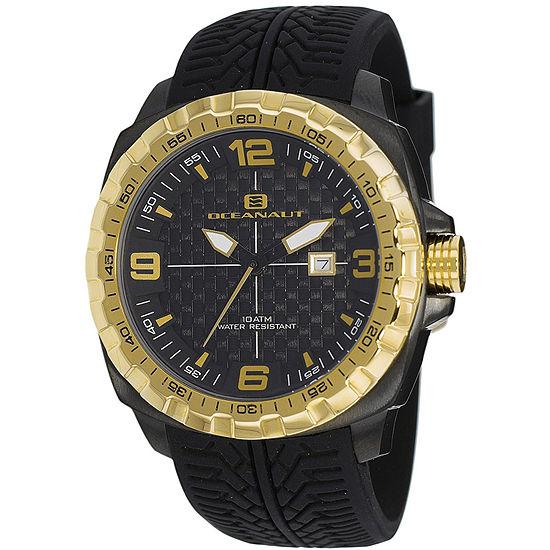 Oceanaut Mens Black Leather Strap Watch-Oc1112