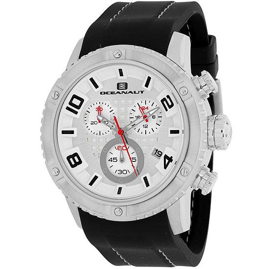 Oceanaut Mens Black Leather Strap Watch-Oc3121r