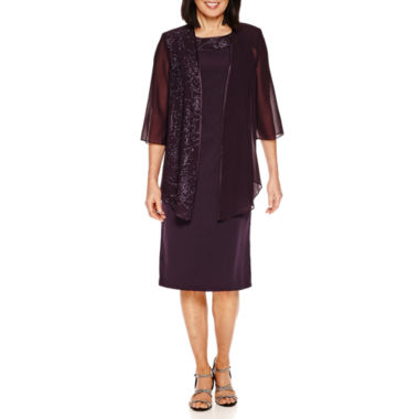 Maya Brooke 3/4 Sleeve Jacket Dress