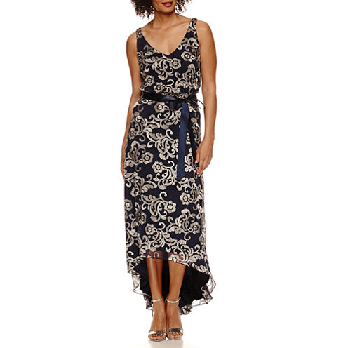 Blu Sage Sleeveless Embroidered Evening Gown