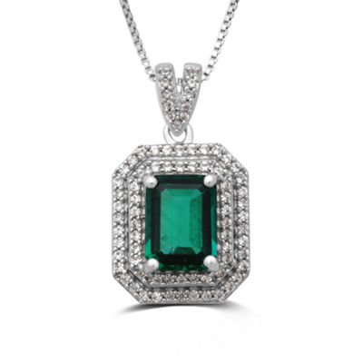 Womens Lab Created Emerald Sterling Silver Pendant Necklace