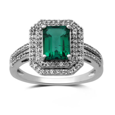 Lab Created Green Emerald Sterling Silver Cocktail Ring