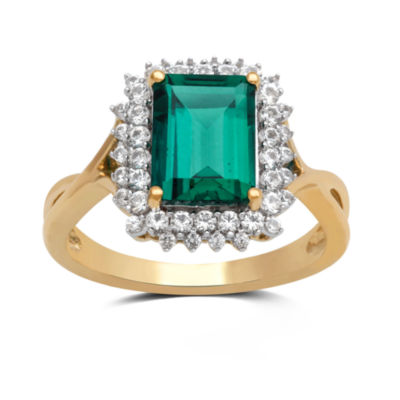 Womens Lab Created Emerald Gold Over Silver Cocktail Ring