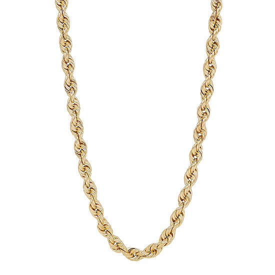 10K Gold 24 Inch Hollow Rope Chain Necklace