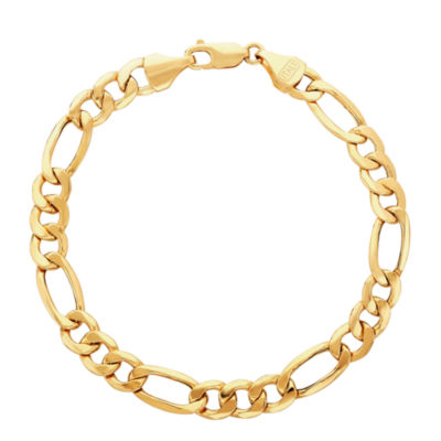Made in Italy 10K Gold 9 Inch Hollow Figaro Chain Bracelet