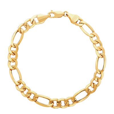 Made in Italy 14K Gold 9 Inch Solid Figaro Chain Bracelet