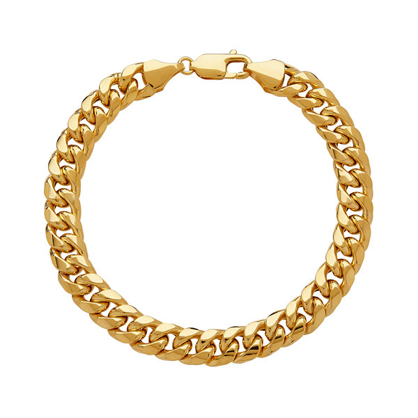 Made In Italy Mens 9 Inch 10K Gold Link Bracelet