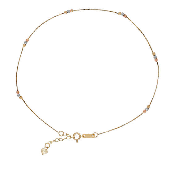 14k Gold 10 Inch Box Ankle Bracelet