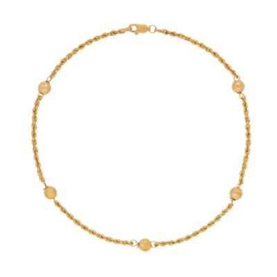 14K Gold 10 Inch Hollow Rope Ankle Bracelet