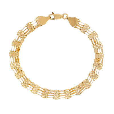 Made in Italy 14K Gold 7.25 Inch Solid Link Bracelet
