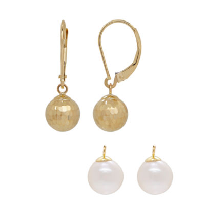 2-pc. Genuine White Cultured Freshwater Pearl 14K Gold Earring Set