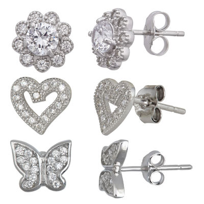 3-pc. 2 CT. T.W. Cubic Zirconia Sterling Silver Earring Sets
