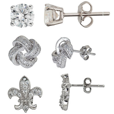 3-pc. 3 CT. T.W. Cubic Zirconia Sterling Silver Earring Sets
