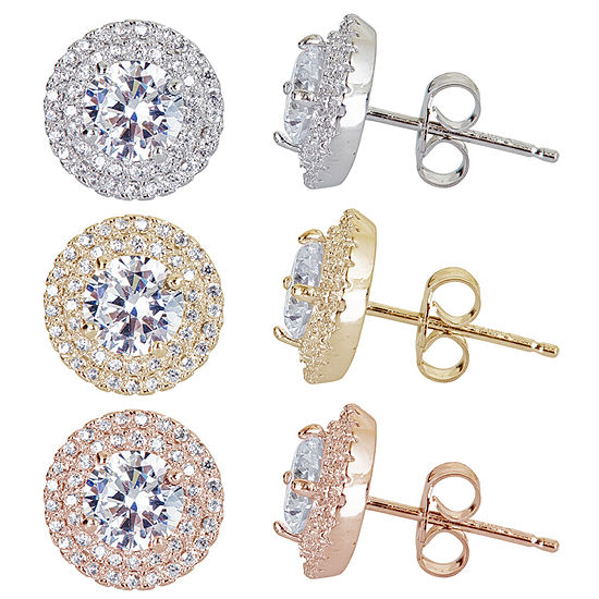 3-pc. 2 CT. T.W. Cubic Zirconia 14K Sterling Silver Gold Over Silver Earring Sets