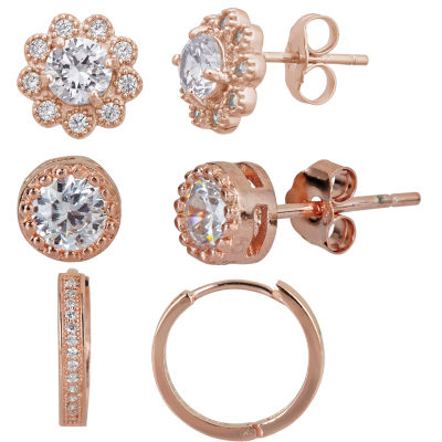 3-pc. White Cubic Zirconia 14K Gold Over Silver Earring Sets