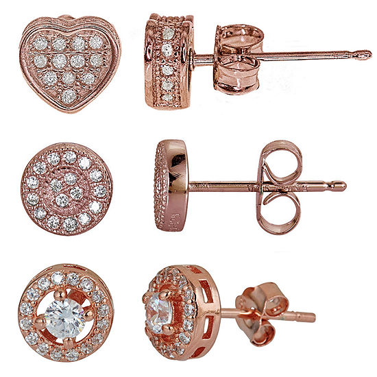 3-pc. Cubic Zirconia 14K Gold Over Silver Earring Sets