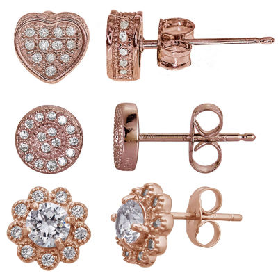 3-pc. 2 CT. T.W. Cubic Zirconia 14K Gold Over Silver Earring Sets