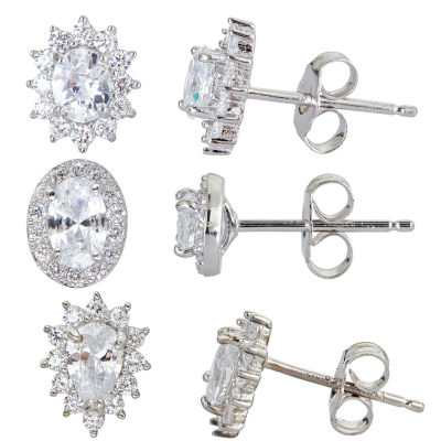 3-pc. 4 CT. T.W. Cubic Zirconia Sterling Silver Earring Sets