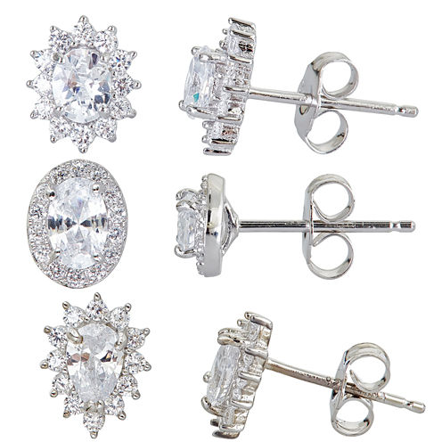 3-pc. 4 CT. T.W. White Cubic Zirconia Sterling Silver Earring Sets