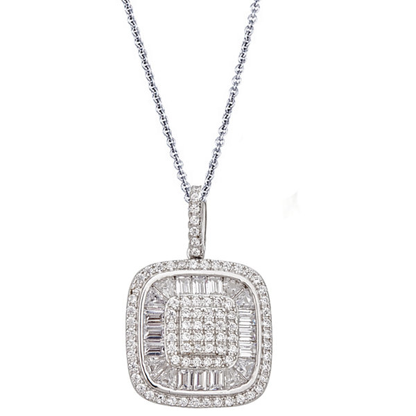 Womens Cubic Zirconia Sterling Silver Pendant Necklace