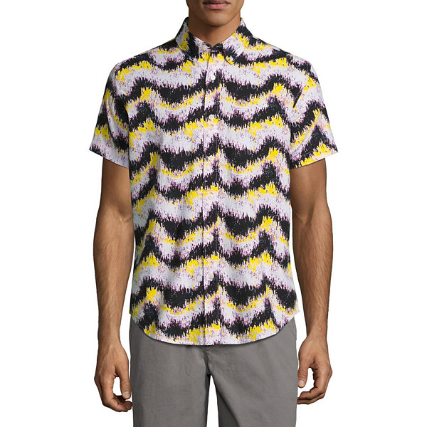 City Streets Short Sleeve Stripe Button-Front Shirt