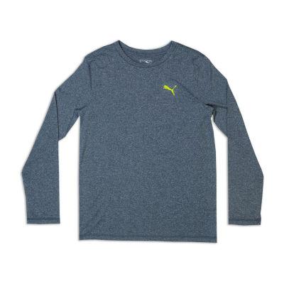 Puma Long Sleeve Crew Neck T-Shirt-Big Kid Boys