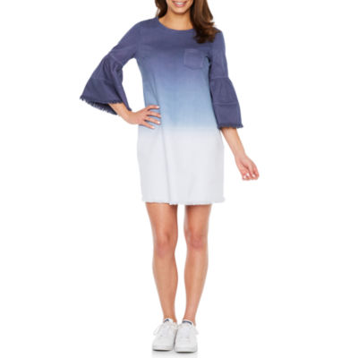 Vivi By Violet Weekend Elbow Sleeve Ombre Shift Dress