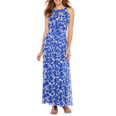 Ronni Nicole Sleeveless Leaf Maxi Dress