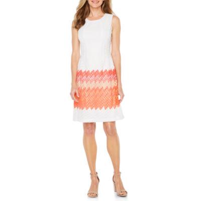 R & K Originals Sleeveless Lace Chevron Fit & Flare Dress