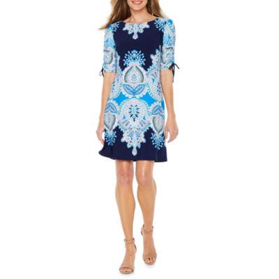 R & K Originals Elbow Sleeve Pattern Shift Dress