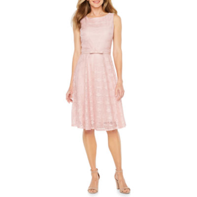 Danny & Nicole Sleeveless Lace Belted Fit & Flare Dress