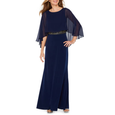 Melrose Elbow Sleeve Cape Embellished Evening Gown
