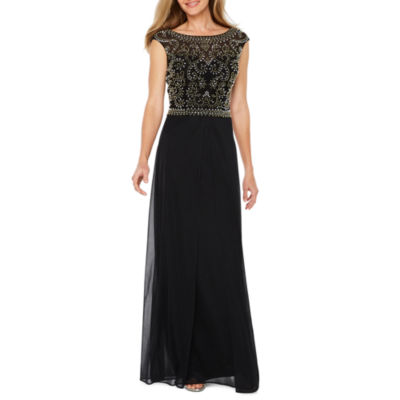 Jackie Jon Cap Sleeve Beaded Evening Gown