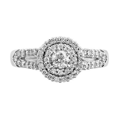 Womens 5/8 CT. T.W. Genuine White Diamond 10K White Gold Engagement Ring