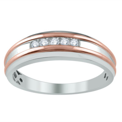 Mens 1/8 CT. T.W. Genuine White Diamond 10K Gold Wedding Band