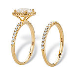 Diamonart Womens 2 1/2 CT. T.W. Cubic Zirconia 14K Gold Over Silver Halo Bridal Set