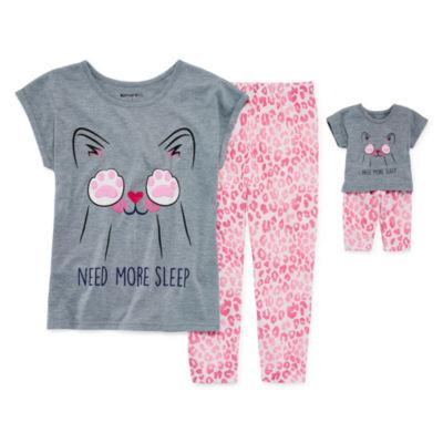2pc.Short SLeeve Pajama Set Girls & Doll PJs