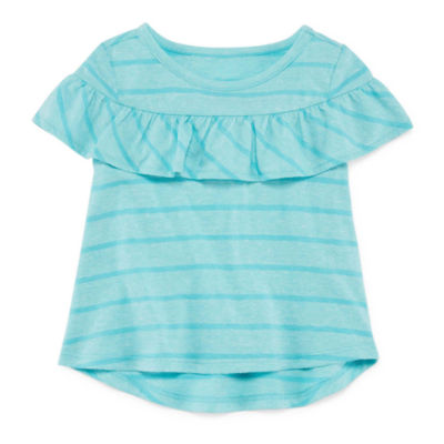 Okie Dokie Stripe Ruffle Short Sleeve T-Shirt-Baby Girls Newborn-24M