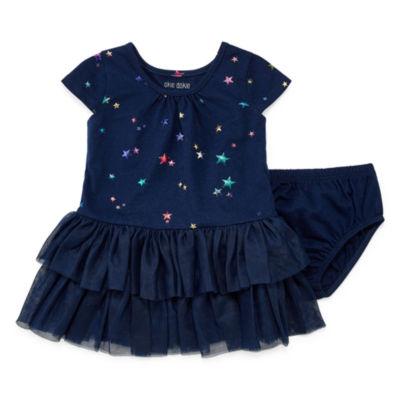 Okie Dokie Star Foil Print Short Sleeve Tutu Dress - Baby Girl NB-24M
